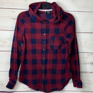 NO COMMENT Burgundy and Blue Check Hooded Flannel